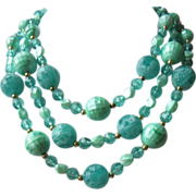 Vintage Seafoam Green Three Strand Necklace ~ REDUCED!!