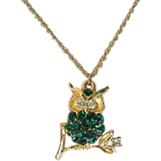 Sparkling Emerald Green Rhinestone Owl Necklace ~ REDUCED!