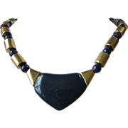 Vintage Napier Navy Blue Lucite and Gold Tone Necklace ~ REDUCED!