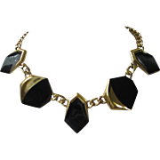 Vintage MONET Black Enamel and Gold Tone Necklace ~ REDUCED!!