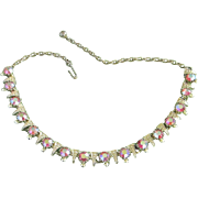 Vintage Gold Tone and Watermelon AB Rhinestone Necklace