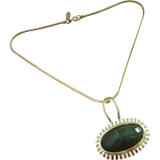 Vintage Whiting and Davis Hunter Green Glass Cabochon Pendant Necklace ~ REDUCED!