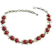 Dark Ruby Red Moonglow Lucite Choker Necklace ~ REDUCED!