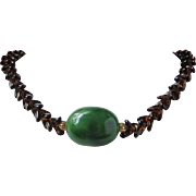 Vintage Tortoiseshell Glass and Jade Thermoset Necklace