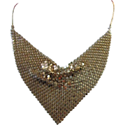 Vintage Gold Tone Mesh Bib Necklace ~ REDUCED!