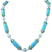 JAPAN Turquoise and Lime Green Glass Beaded Necklace with AB Crystals