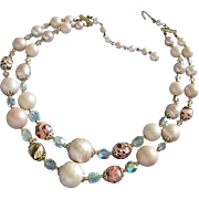 Japan Pink Blush Double Strand Bead and Glass Necklace
