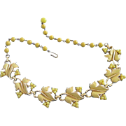 Vintage Coro Sunny Yellow Enamel Leaves and Beads Choker Necklace ~ REDUCED!