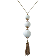 Vintage Tiered White Balls Dangling Pendant Necklace