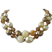 Vintage Amber, Bronze and Cream Colored Beaded Necklace ~ REDUCED!