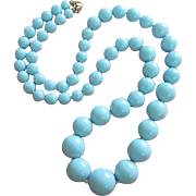 Vintage Long Strand of Sky Blue Lucite Beaded Necklace
