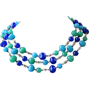 Vintage Multi Strand Glass Bead Necklace in Royal Blue, Turquoise, and Seafoam Green