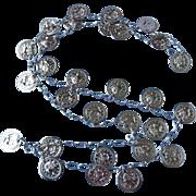 Vintage Silver Tone Coins Necklace