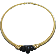 Napier Black Lucite and Gold Tone Choker Necklace