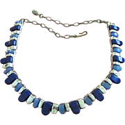 Vintage Lucite Necklace in Midnight and Denim Blue, Silver Tone