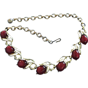 Luminous Cranberry Moonglow Lucite, Gold Tone Necklace