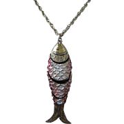 Large Enamel and Gold Tone Articulating Fish Pendant Necklace
