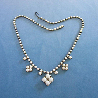 Delicate Milk Glass Vintage Necklace