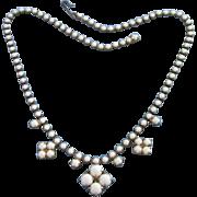 Delicate Milk Glass Vintage Necklace