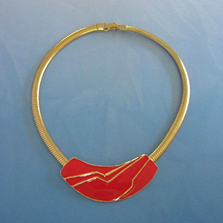 Flashy Vintage Red Enamel and Gold Tone Necklace