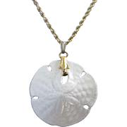 Delicate White Enamel Sand Dollar Necklace
