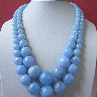Vintage Hong Kong Large Blue Lucite Beaded Necklace, Double Strand
