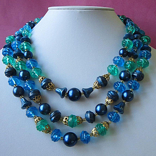 West Germany Sea Blues and Greens Multi Strand Beaded Necklace
