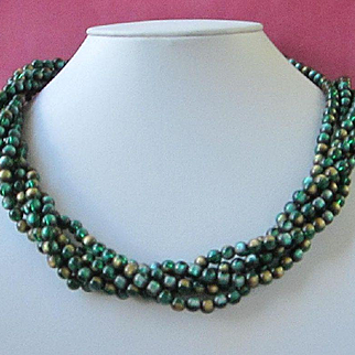 Vintage Emerald Green and Bronze Beaded Torsade Necklace