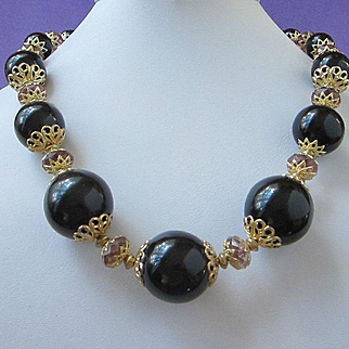 Vintage Chunky Black Beaded Necklace