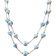 Sky Blue and White Moonglow Lucite Double Strand Necklace