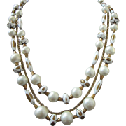 Vintage Cream and Bronze Colored Beaded Multi Strand Necklace