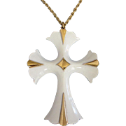 Vintage White Enamel and Gold Tone Cross Pendant Necklace