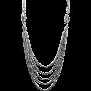 Vintage Silver Tone Multi Strand Necklace