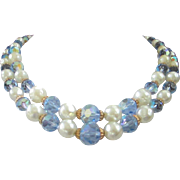 Vintage Double Strand Faux Pearl and Light Blue AB Crystals Necklace