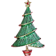 Vintage Enamel Holiday Christmas Tree Pin