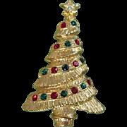 Rhinestone & Gold Tone Holiday Christmas Tree Pin ~ REDUCED!