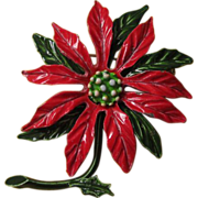 Red and Green Enamel Poinsettia Holiday Flower Pin