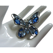 Vintage Light and Dark Sapphire Rhinestone Butterfly ~ REDUCED!