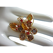 Gorgeous Vintage Topaz and Hyacinth Orange Rhinestone Butterfly Pin ~ REDUCED!