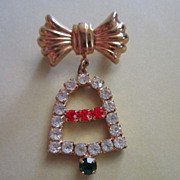 Vintage Holiday Rhinestone Bell with Bow Pin Brooch ~ REDUCED!