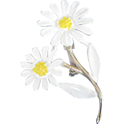 Double Daisy Enamel Flower Pin