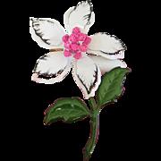 Lovely Black, White and Pink Enamel Flower Pin