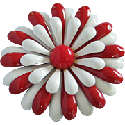Cheery Vintage Red and White Enamel Flower Pin ~ REDUCED!