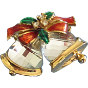 Holiday Christmas Pin Brooch with Faceted Glass Bells, Enamel Bow and Rhinestones