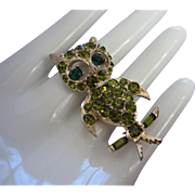 Vintage PELL Olivine Rhinestone Owl Pin