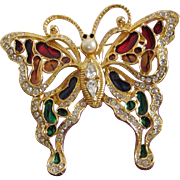 Large and Glorious Enamel and Rhinestone Butterfly Figural Pin