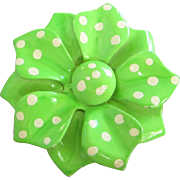 Vintage Lime Green Enamel Flower with Polka Dots Pin ~ REDUCED!!