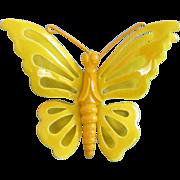Vintage Yellow Enamel Butterfly Pin Brooch
