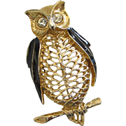 Vintage Openwork Gold Tone and Enamel Owl Pin Brooch ~ REDUCED!