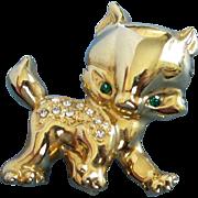 Fierce Gold Tone Kitty Cat with Rhinestones Pin Brooch